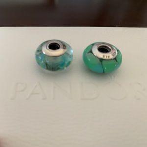 Pandora retired Murano glass beads (set of 2)